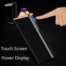 New Rechargable Lighter Electronic Double Arc Plasma Lighters Touch Screen Electric USB Cigarette lighter Power Display cakmak