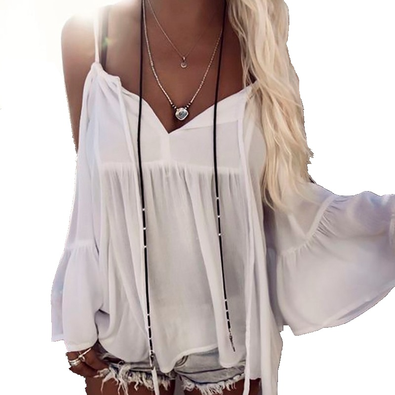 Women Off Shoulder   Blouse     Shirt   Summer Loose Casual Chiffon Cut Out Tops   Blouse   Ladies Tops