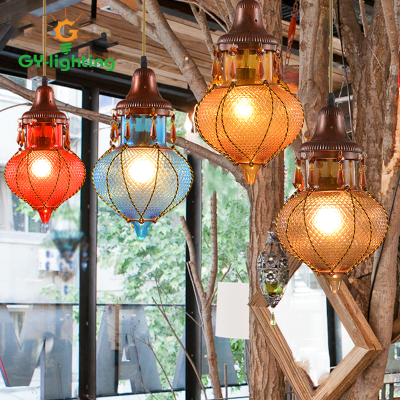 ФОТО American Country Vintage Colorful Glass Pendant Lamps Wholesale Modern Minimalist Gorgeous Cafe/Bar Decoration Single Home Light