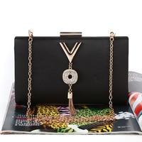 V Letter Tassels Clutch Bag Women Luxury Birthday Party Box Bag Female Day Cluthes Wallet Wedding Purse