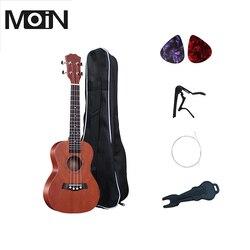 Soprano Ukulele 21 inch Ukelele 4 Strings Basswood Fingerboard Acoustic Guitar Music Instrument Bag Tuner String Strap Pick Set