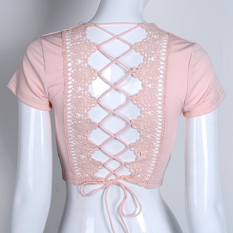 Lace Up Back Sexy T-shirt, Crisscross Fashion T- shirt, Summer Crop Top 15