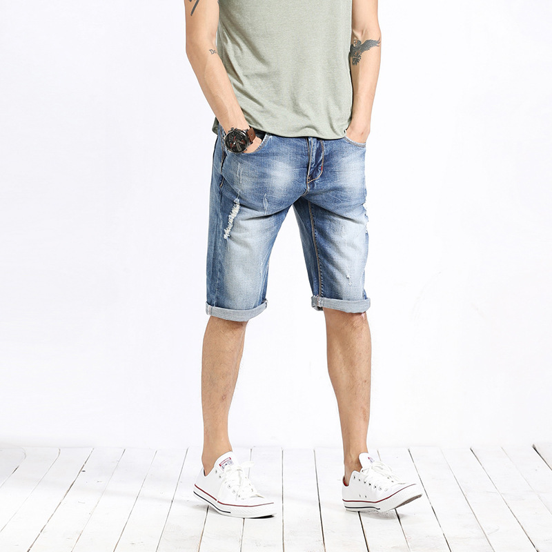 Fashion Men Short Jeans Destroyed Ripped Design Denim Shorts Men Summer Causal Solid Shorts Men Plus Size 28-36 Top Quality