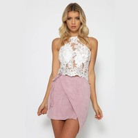 Baodilang Elegant White Lace Crop Top Summer Beach Backless Short Halter Tops Sexy Party Camis Gauze