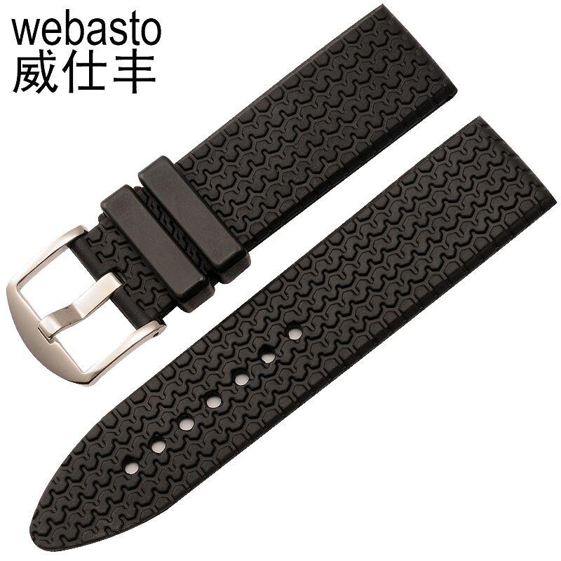 Webasto Men Watch Band For Chopard HAPPY DIAMONDS Rubber Straps Width 23mm Buckle Watch Strap Watchbands Free Shipping