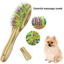 bamboo  Dog Pet hair brush Comb colorful Massage Brushes Cat Grooming Tools soft Brush Accessories Tool