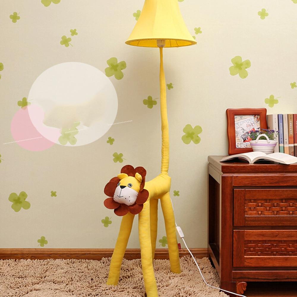 ФОТО High Quality Luxurious Bedroom Design Kids Floor Lamp Led Yellow Lion Children's Floor Lamps 110V/220V E27 Children Room Light