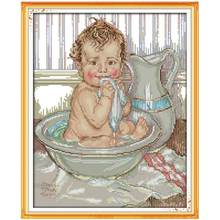 A Shower Baby Patterns Counted Cross Stitch 11CT 14CT Cross Stitch Set Wholesale Chinese Cross-stitch Kits Embroidery Needlework