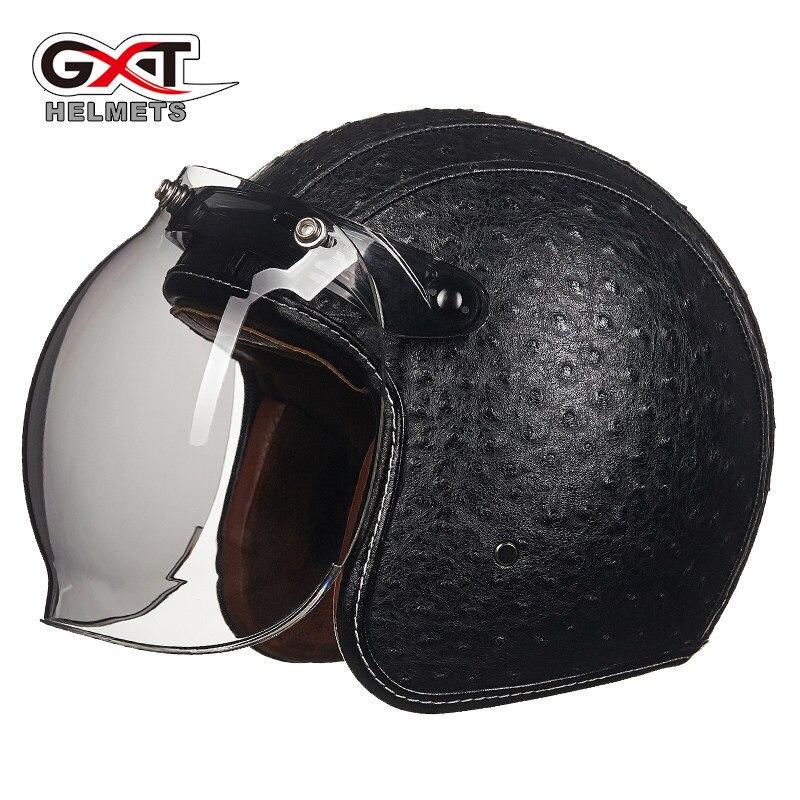 GXT casque de Moto Vintage PU cuir rétro Moto lunettes masque bulle visière Scooter vélo casques Moto casque