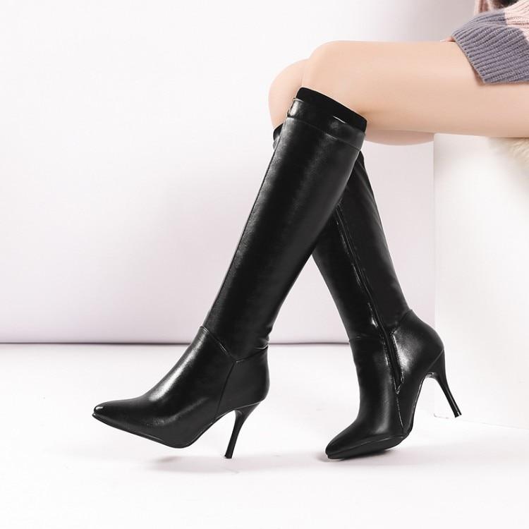 Knee Boot Side Zipper Thin Heels