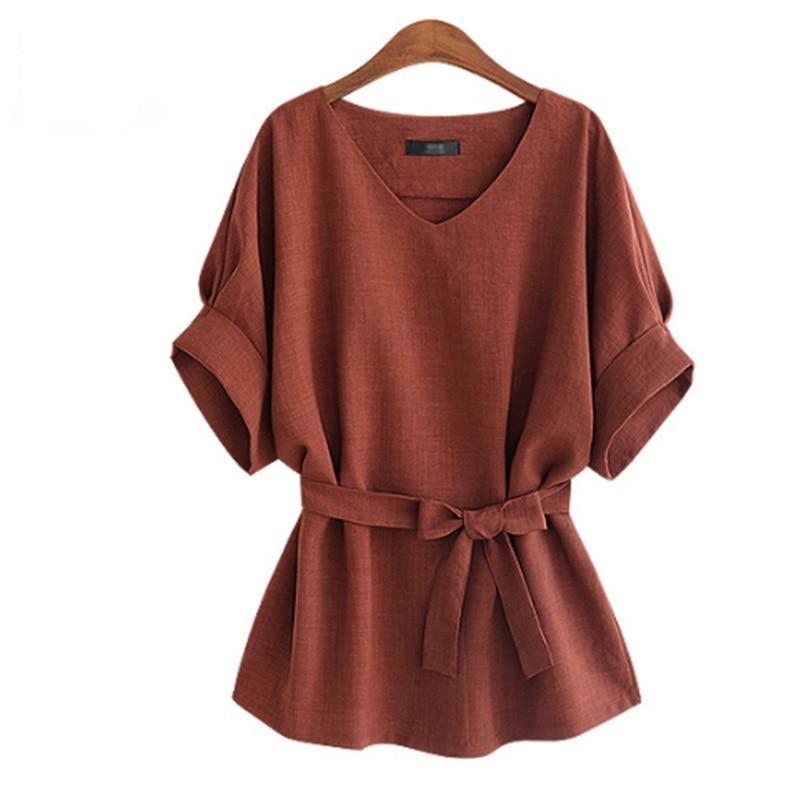 2018-Summer-Women-Shirts-Linen-Tunic-Shirt-V-Neck-Big-Bow-Batwing-Tie-Loose-Ladies-Blouse