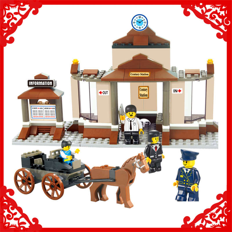 SLUBAN 0230 175Pcs Railway Station Horse Carriage Building Block Construction Figure Toys Gift For Children Compatible Legoe sluban 2500 block vehicle maintenance repair station 414pcs diy educational building toys for children compatible legoe