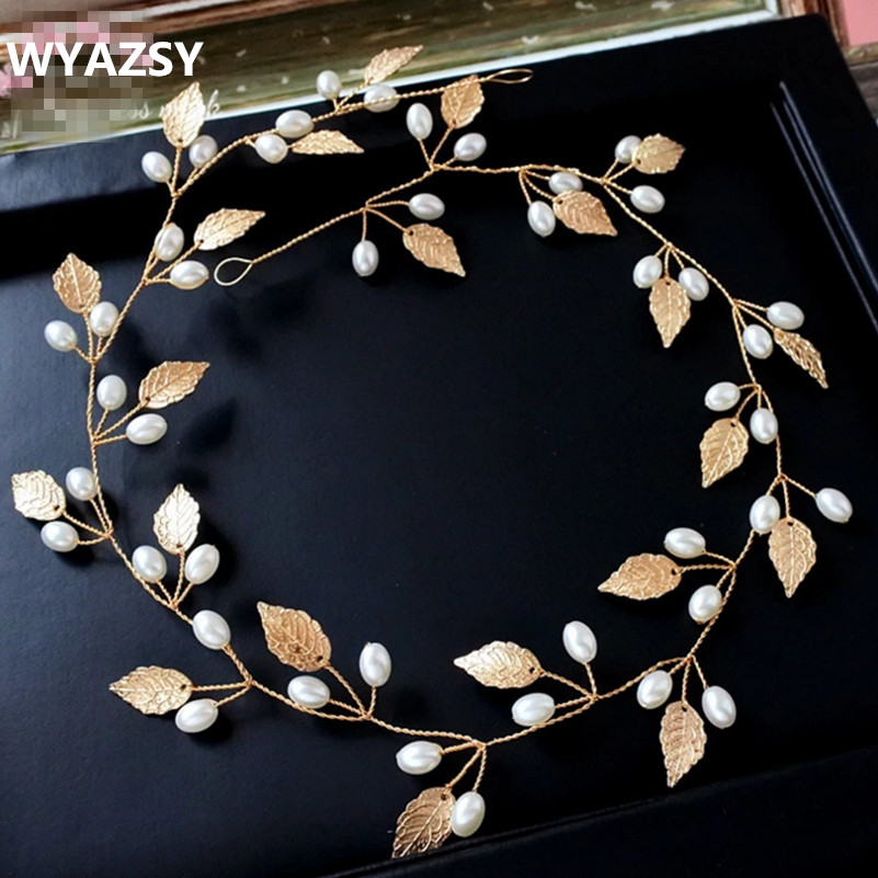 Golden Hairbands Wedding Tiara Pearl Wedding Crown Bridal Hair Accessories Head Jewelry Wedding Hair Accessories Free Shipping