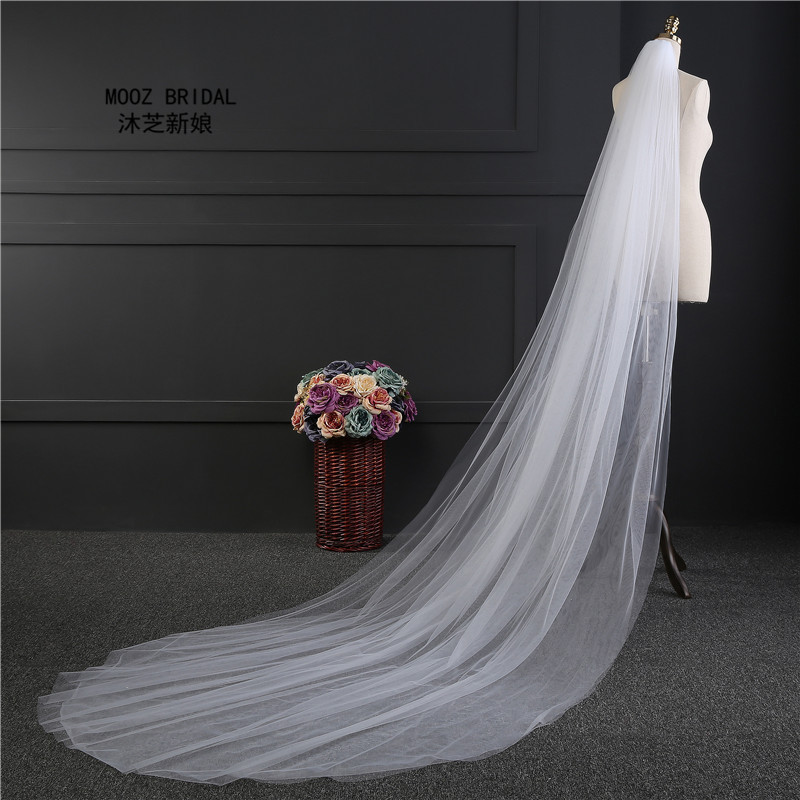 Cheap Bridal Veils Two Layers Cut Edge Cathedral 3-Meter Length Soft Tulle Simple Style Wedding Veil 2019 With Metal Comb