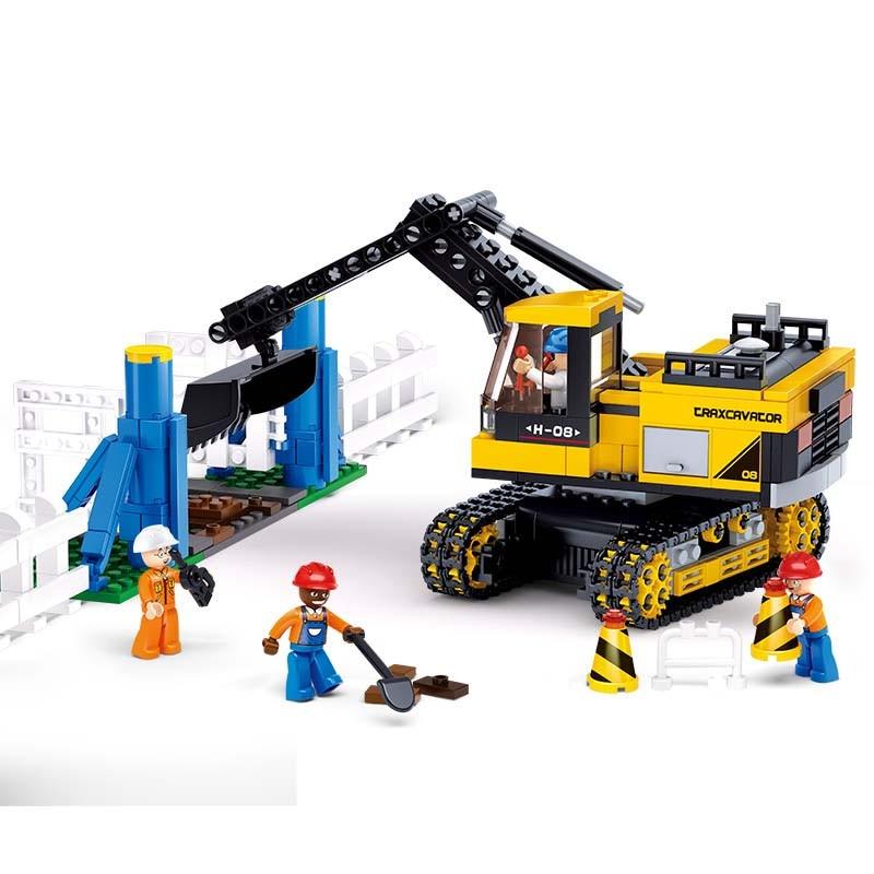 Sluban Excavators Assembling Toys Building Blocks DIY Particles Bricks Plastic Toys For Children Compatible With Legoe 614PCS 0367 sluban 678pcs city series international airport model building blocks enlighten figure toys for children compatible legoe