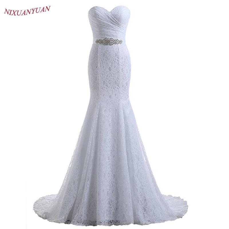 NIXUANYUAN 2019 Hot Sale Elegant Sweetheart Ivory White Lace Mermaid Wedding Dresses 2018 Real Cheap vestido