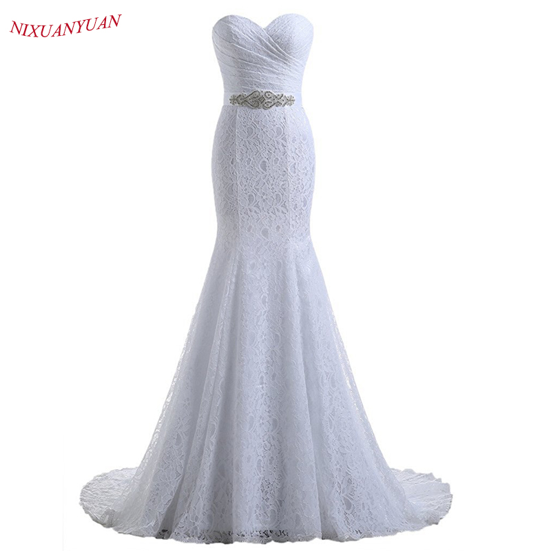 NIXUANYUAN 2019 Hot Sale Elegant Sweetheart Ivory White Lace Mermaid Wedding Dresses 2019 Real Cheap Vestido De Noiva With Belt