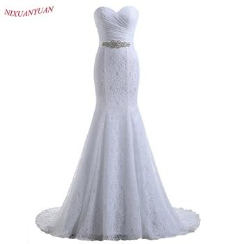 NIXUANYUAN 2019 Hot Sale Elegant Sweetheart Ivory White Lace Mermaid Wedding Dresses 2019 Real Cheap vestido de noiva With Belt