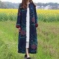 JN055 Nova Chegada 2016 Estilo Chinês Étnico solto vintage longo maxi algodão e linho mulheres primavera casaco