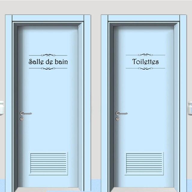Vinyl wand aufkleber Porte Salle de bain et Toilettes kunst tapete ...