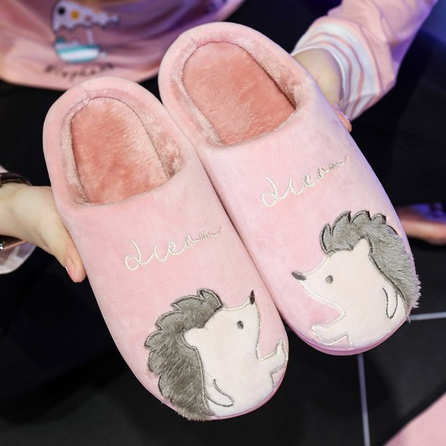 Women Slippers Cartoon Hedgehog Winter Fur House Slippers Indoor Outdoor Plush Ladies Shoes Women Couple Zapatillas Mujer