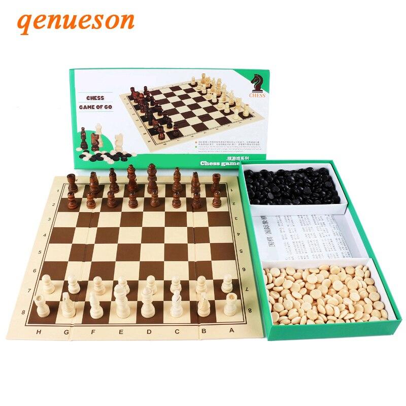 Hot 2 en 1 échiquier pliable en bois échiquier jeu d'échecs et de Go jeux d'échecs haut de gamme ensemble de voyage en boîte cadeaux pour enfants et enfants