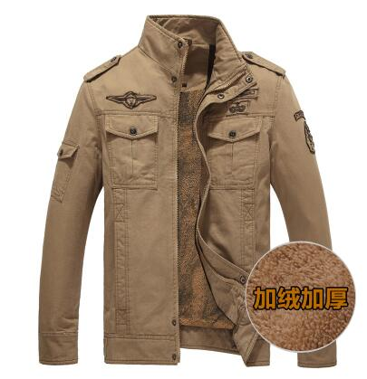 ФОТО Military Style for men Winter fleece jacket 101 Airborne Division standing collar plus size Coats Army Warm Bomber Jackets