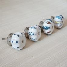 Perillas de cerámica únicas aparador tira de perilla de cajón armario de cocina colorido tiradores perilla de la manija de la Puerta de los muebles azules