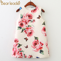 Bear Leader Girl Dress 2017 New Summer Kids Clothes Children Clothing Brand Rose Flowers Pring Sleeveless