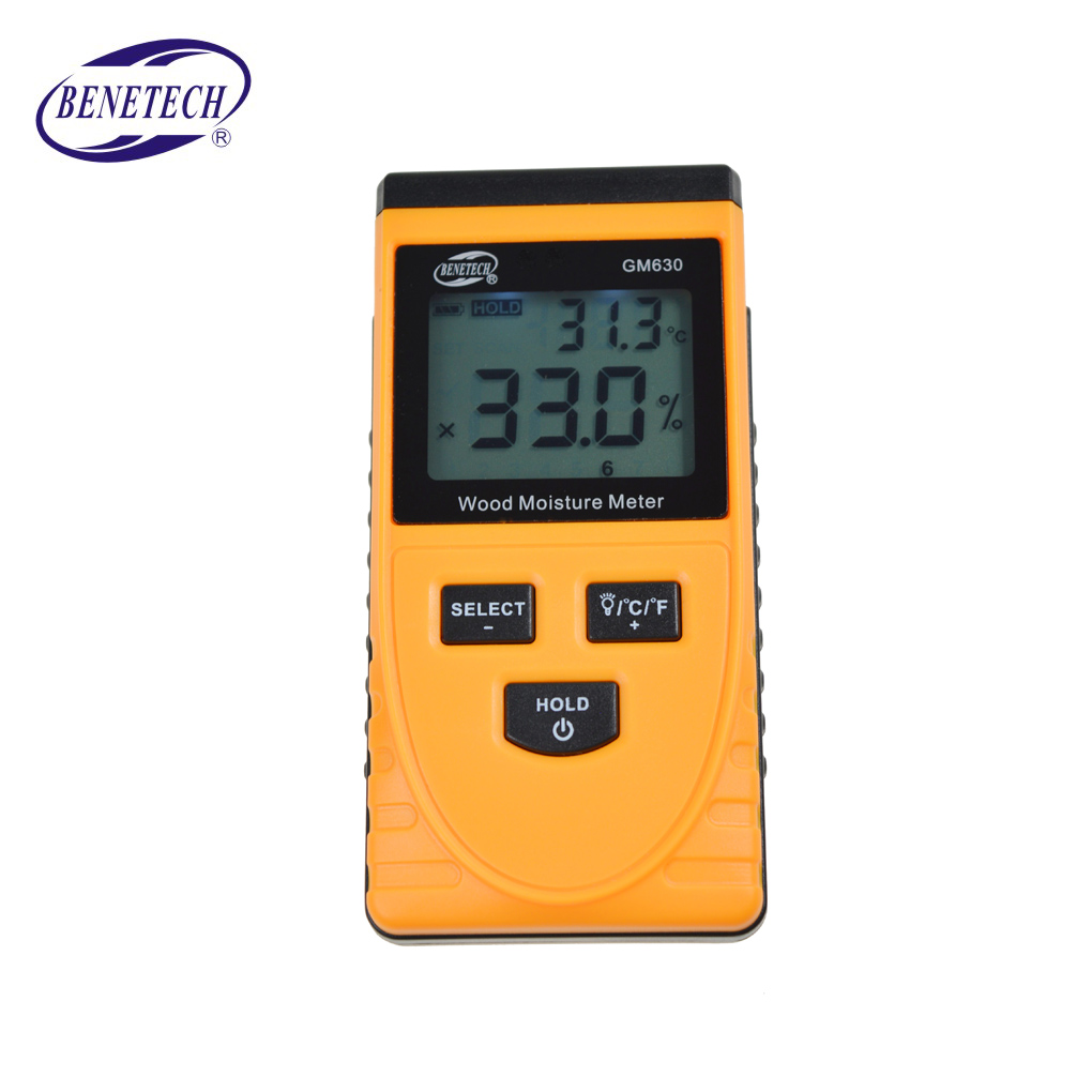 GM630 Inductive Wood Moisture Tester Digital LCD Display Induction Timber Moisture Meter Temperature Tester
