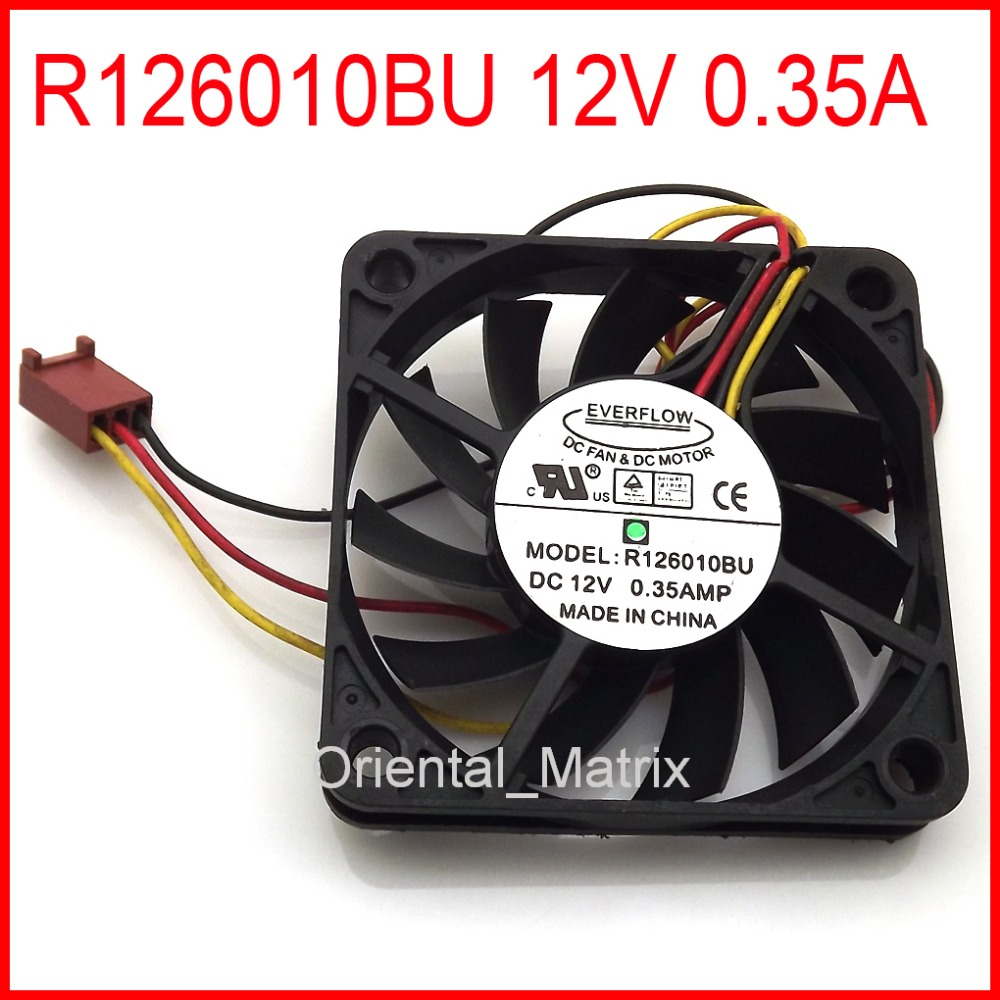 free shipping r126010bu 60x60x10mm cpu fan 12v 0 35a 3pin computer cpu cooler cooling fan [ 1000 x 1000 Pixel ]