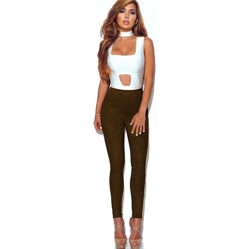 Colourful Suede Leather Women Skinny Pant Autumn Leggings Slim Pencil Pants Casual Bandage Bodycon Women Trousers Ladies Pants