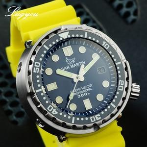 Image 4 - LUGYOU San Martin TUNA automatyczny męski zegarek do nurkowania ze stali nierdzewnej 30Bar wodoodporny pasek silikonowy Super Glow Sapphire data