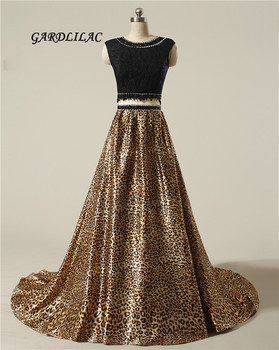 New Two Piece Long Prom Dresses Leopard grain 2 Piece Evening Prom Gowns Crystal Beads Wedding Party Gown