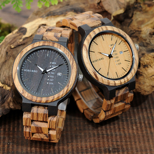 Image 5 - BOBO BIRD WO26 Zebra Wood Watch for Men with Week Display Date Quartz Watches Classic Two tone Wooden Drop Shipping