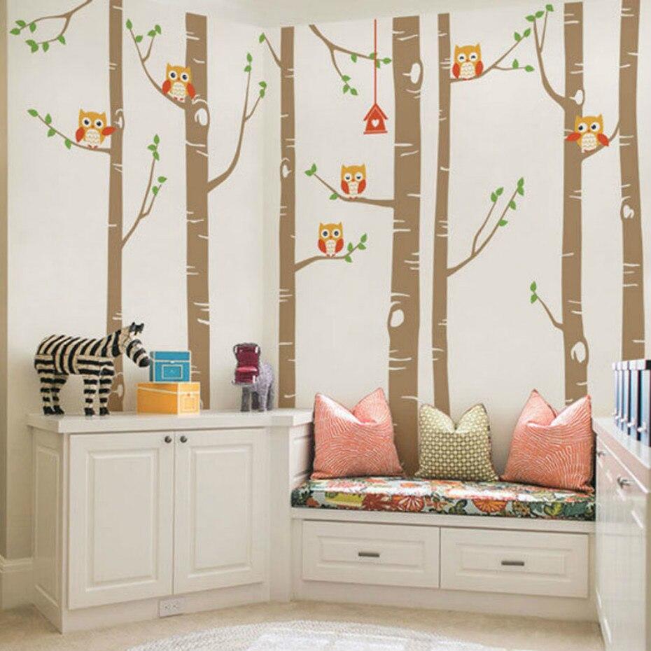 Grande Árvore de Vidoeiro Natureza Parede Decalques Da Parede do Vinil Corujas Bonitos adesivo Berçário Da Floresta Da Floresta Arte Adesivos para Quarto de Crianças Em Casa decoração - 3