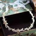 Poemas de amor de Wei Coreano Golden Pearl cristal crytal jóias cocar de casamento da noiva com cabelo e maquiagem cabelo