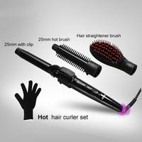 2017 New 3 In 1 Tourmaline Ceramic Set Interchangeable Hair Curler Hot Brush Hair Straightener Brush