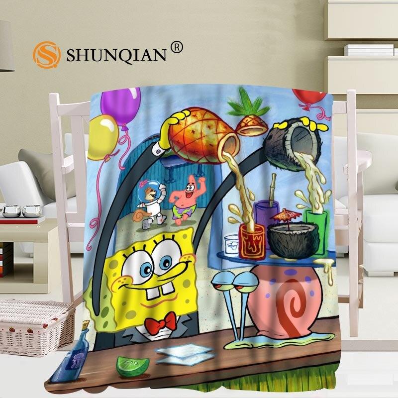 Personnalisé Spongebob et Patrick couverture doux bricolage votre image décoration chambre taille 56x80 pouces, 50X60Inch,40X50Inch A7.10