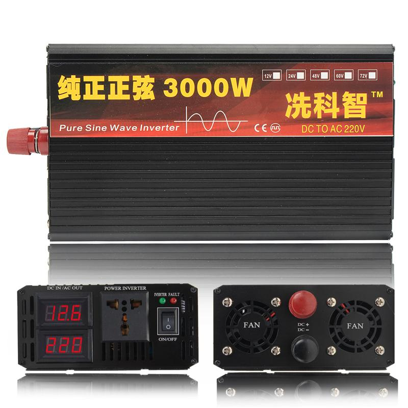 Inverter 12V 220V 2000/3000/4000W Voltage transformer Pure Sine Wave Power Inverter DC12V to AC 220V Converter + 2 LED Display 19