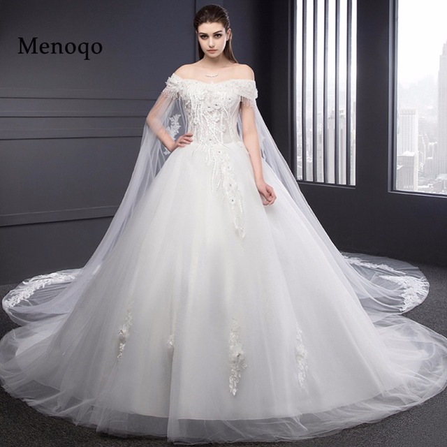 Ball Gown Long Sleeve Beaded Crystal Applique Watteau: Aliexpress.com : Buy Real Photo Bridal Gown Off Shoulder