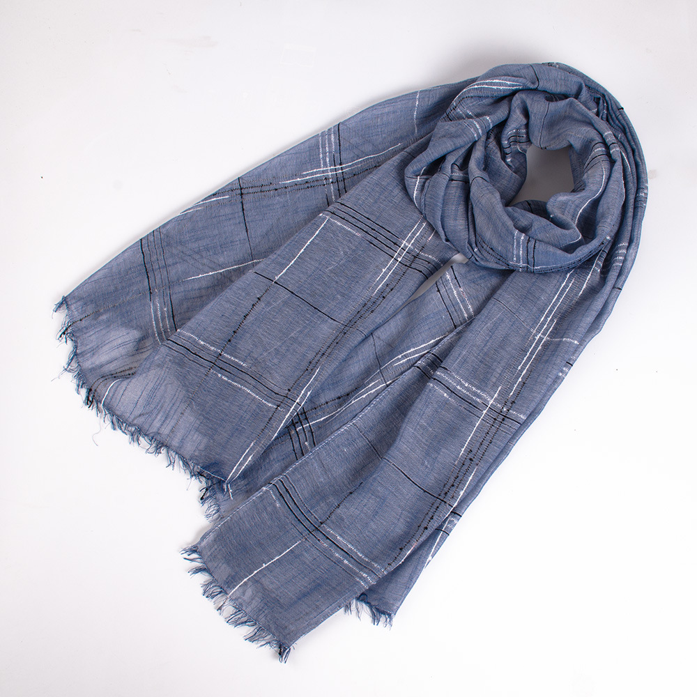 Men Scarf Linen Shawl Plaid Japanese Warm Winter Cotton Fashion And Long Unisex-Style