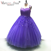 VARBOO_ELSA Plus Size Purple Tulle Ball Gowns Luxury Beading Prom Dress 3D Flower Appliques Spaghetti Strap Evening Dresses 2017