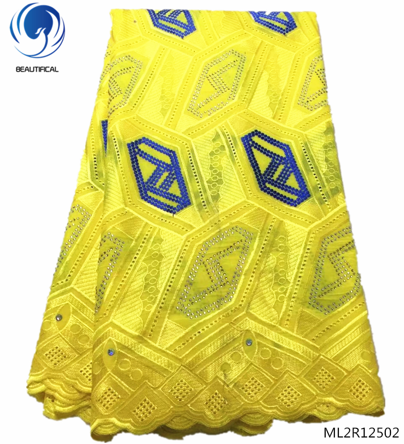 BEAUTIFICAL african yellow swiss voile lace austria eyelet embroidered free shipping ML2R125