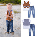 Venda Quente varejo 2016 menino Roupas 3 pcs estilo primavera e no outono colete + t shirt + calça jeans conjunto de roupas de bebê menino de alta qualidade terno
