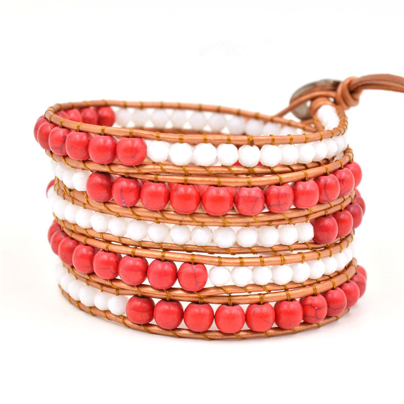 Vintage Bohemian Beaded Bracelet White And Red Crystal Beaded Beaded Leather Bracelet Women Men Jewelry Gifts Accessories in Strand Bracelets from Jewelry Accessories