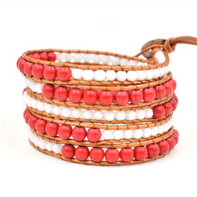 Vintage Bohemian Beaded Bracelet White And Red Crystal Beaded Beaded Leather Bracelet Women Men Jewelry Gifts Accessories