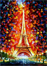 Paris Eiffel Tower Knife Painting!  100% Hand Painted Modern AbstractCanvas Painting for Living Room Home Decoration Gift Dr1P3
