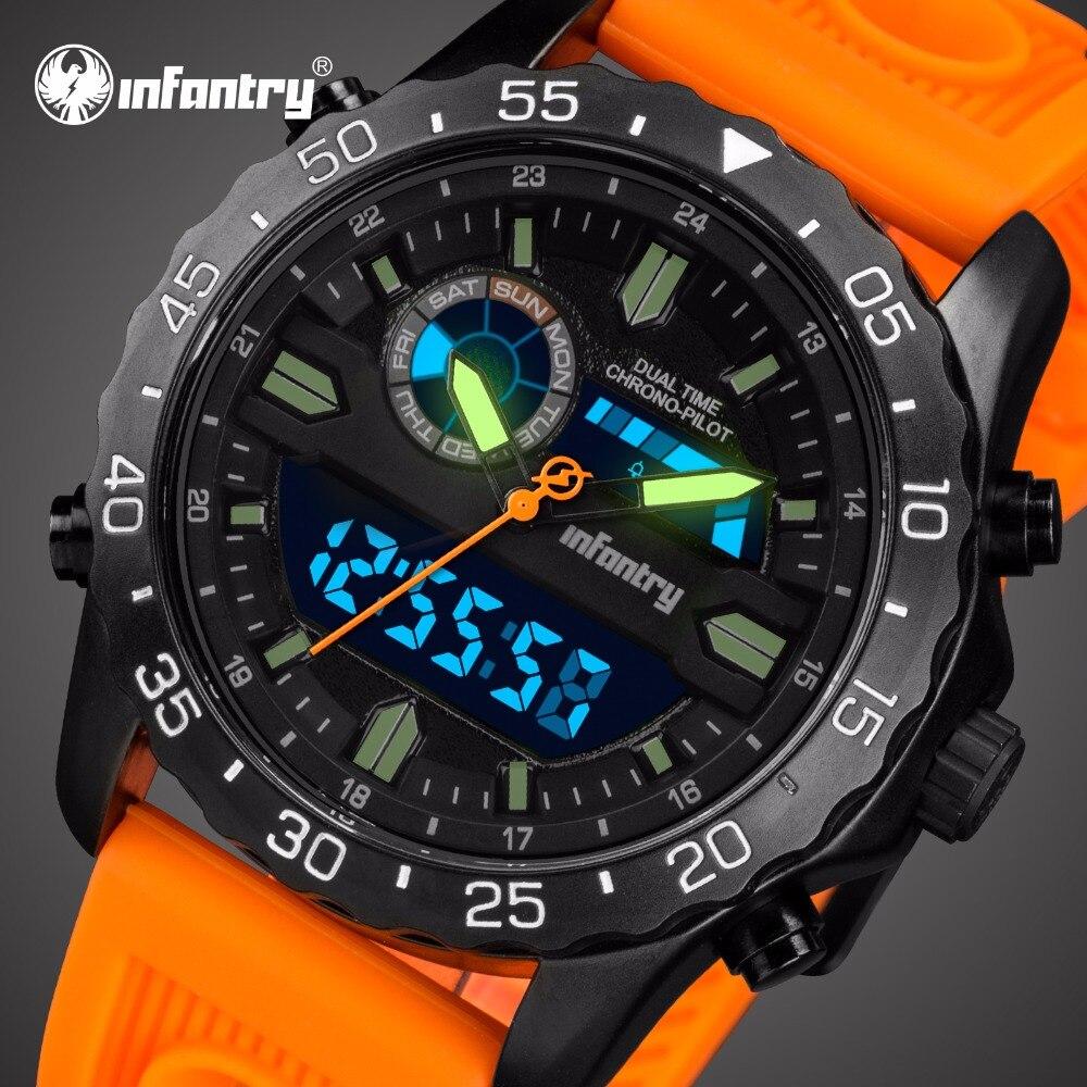 Infanterie montre militaire hommes Sport tactique hommes montres Top marque de luxe montre numérique pour hommes Orange Silicone Relogio Masculino