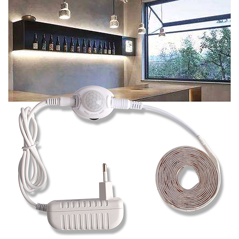 LED Under Cabinet Lights With Motion Sensor Closet Light LED Strip 12V Waterproof Cupboard Wardrobe Bed Lamp 220 EU Power Supply